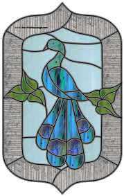 Stained Glass Pattern - Peacock Panel